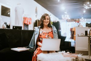 Latina Boutique Store Owner Hard at Work